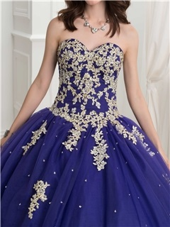 Glamorous Sweetheart Appliques Beading Ball Gown Quinceanera Dress