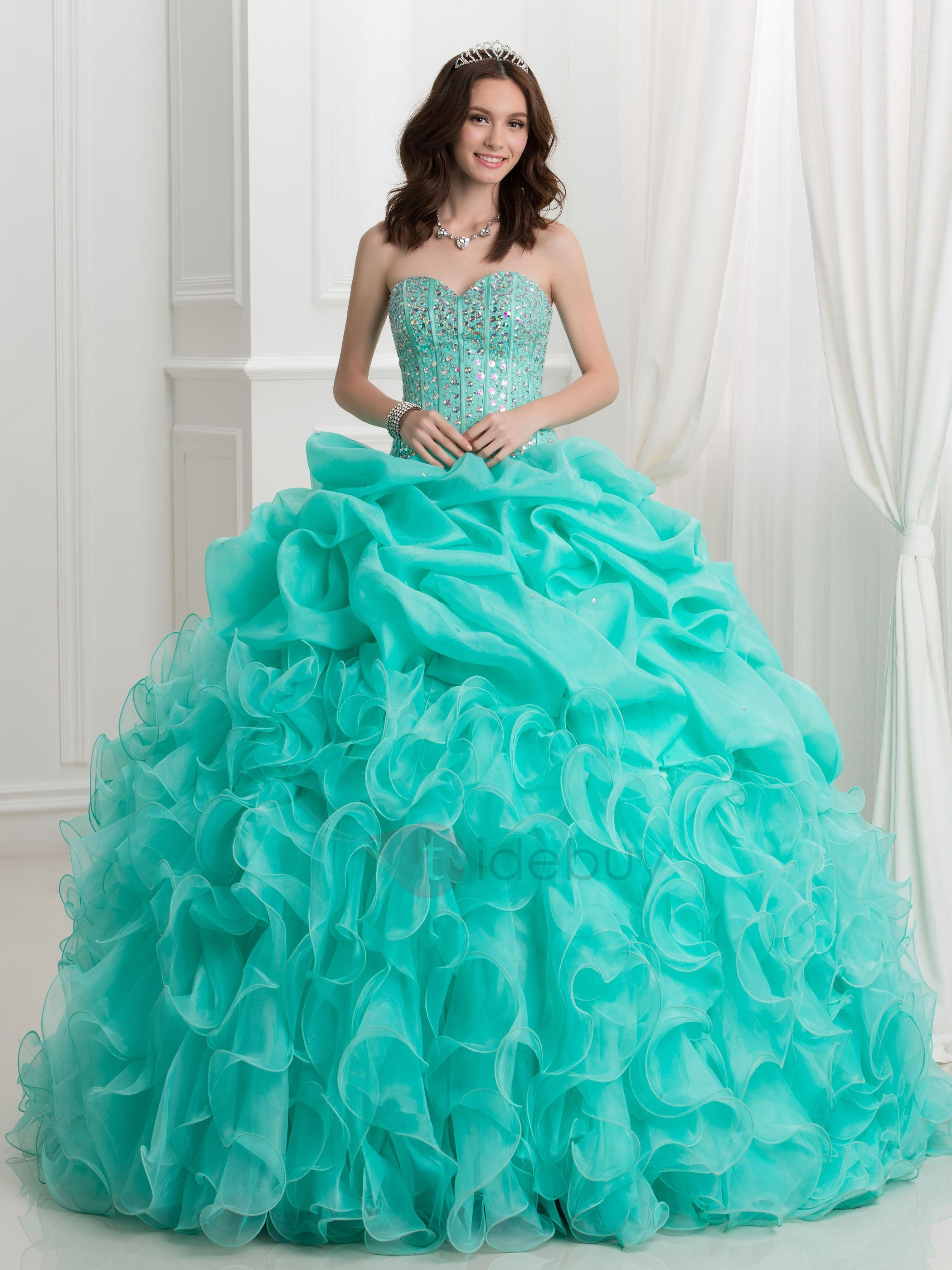 Luxurious Crystal Beading Cascading Ruffles Ball Gown Quinceanera Dress