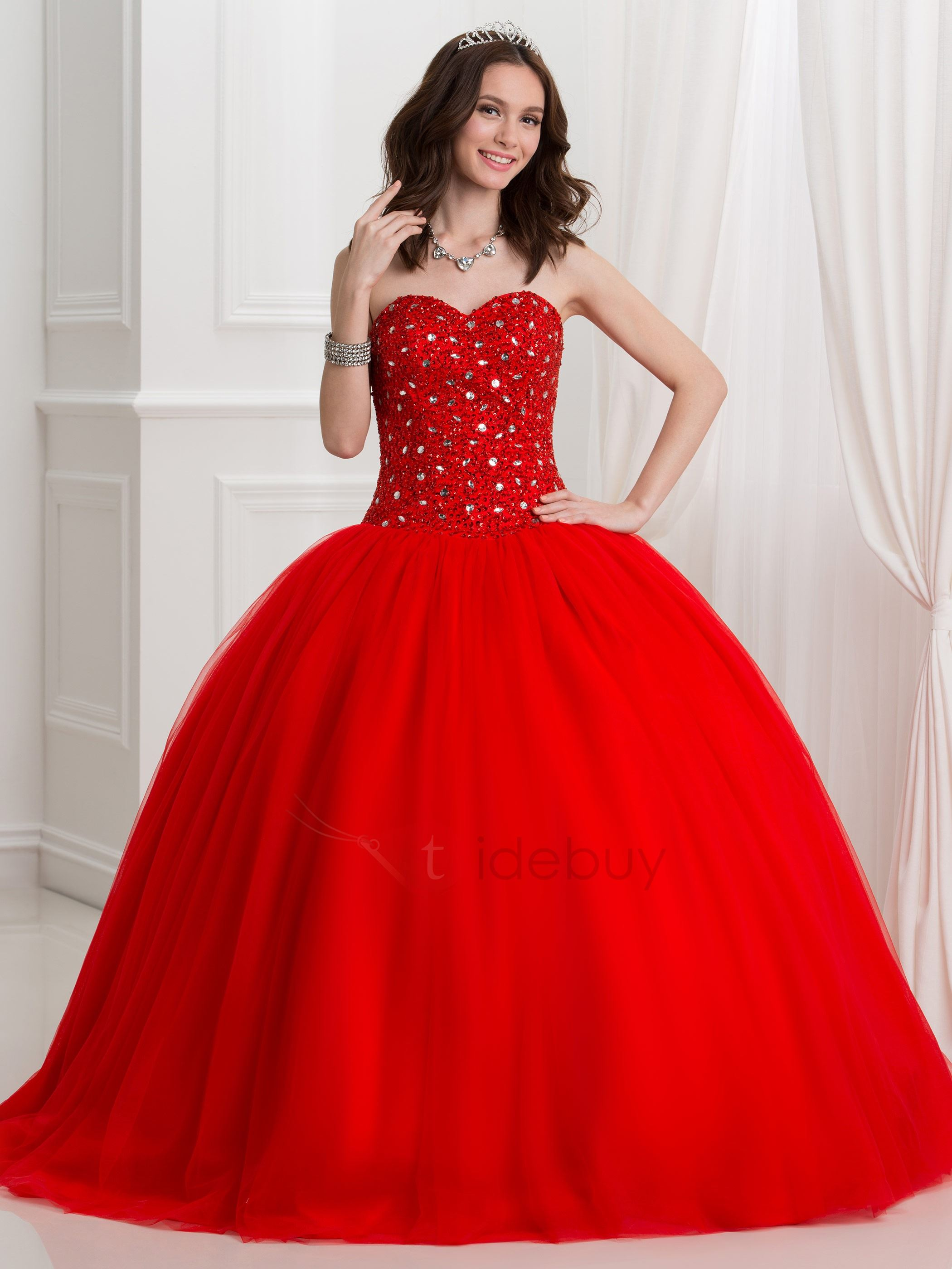 Fancy Sweetheart Sequins Beading Red Ball Gown Quinceanra Dress