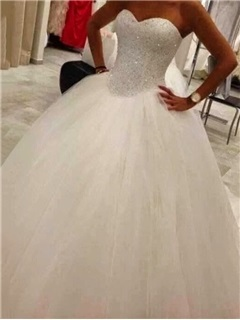 Sweetheart Beaded Crystal Floor-Length Ball Gown Wedding Dress