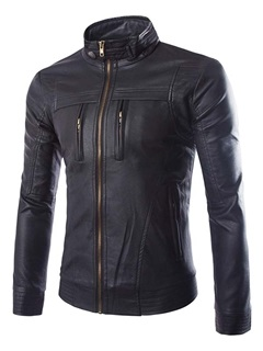Mens Leather Zip Front Pockets Stand Collar Boom Jackets
