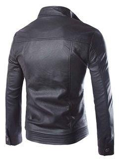 Men's Leather Zip Front Pockets Stand Collar Boom Jackets