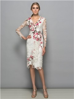 Tidebuy V-Neck Long Sleeves Knee-Length Lace Formal Dress