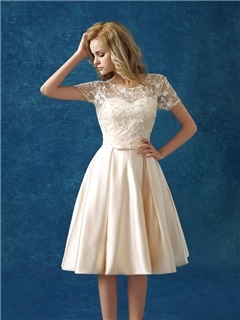 Casual Scoop Neck Short Sleeve Bowknot Lace Knee Length Homecoming Dress
