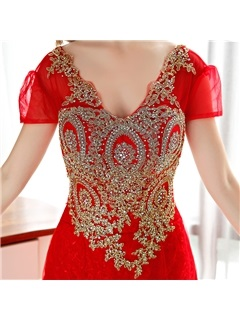 Luxurious V-Neck Short Sleeve Appliques Beaded Long Evening Dress