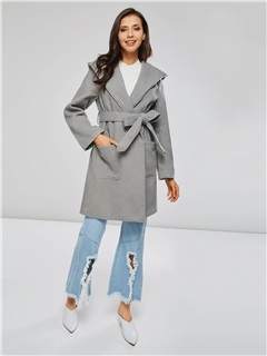 Solid Color Hooded Self-Tie Robe Coat