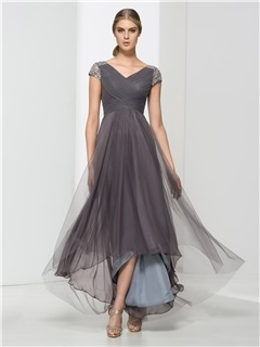 Hot Sale V Neck Short Sleeves Sequins High Low Evening Dress