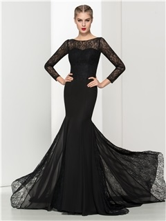 Vintage Long Sleeves Black Lace Mermaid Evening Dress & Evening Dresses for sale