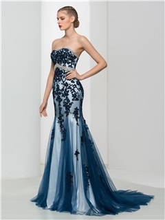 Classy Sweetheart Appliques Beading Mermaid Evening Dress
