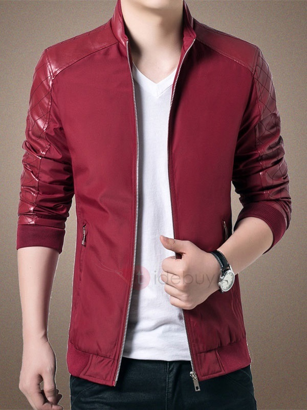 Solid Color PU Patchwork Zip-Front Polyester Men's Jacket