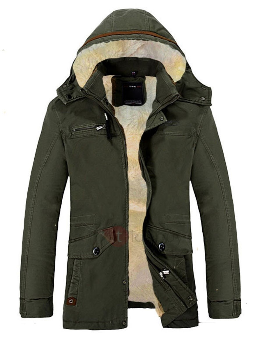 Men's Plus Size Solid Color Hood Coat with Velet