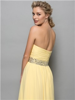 Chic Strapless Tiered Sequins Waist High Low Cocktail Dress