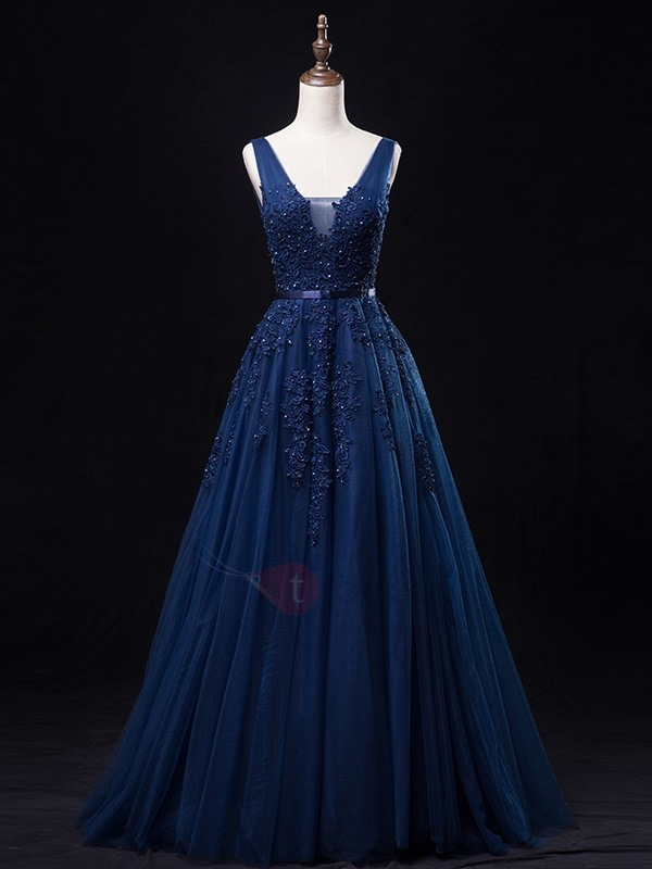 Tidebuy Straps A-Line Appliques Beading Tulle Evening Dress
