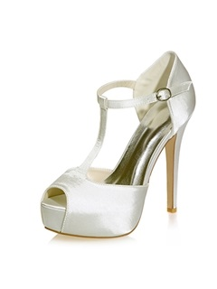 Satin Peep Toe Stiletto Heel Wedding Shoes