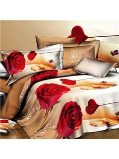 Red Rose Image 4 Piece Bedding Sets