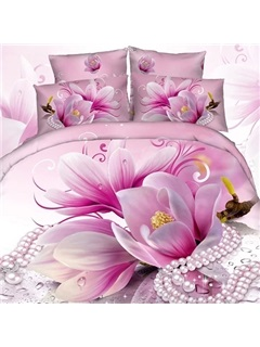 Magnolia Flower Printed 4 Piece Bedding Sets