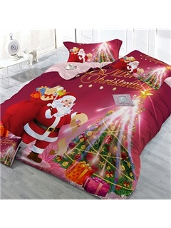 Father Christmas & Gift Image 4 Piece Bedding Sets
