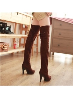 Suede Lace-Up Back Women's Thigh High Boots