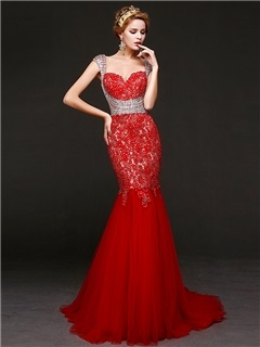 Luxurious Beaded Straps Mermaid Lace Evening Dress