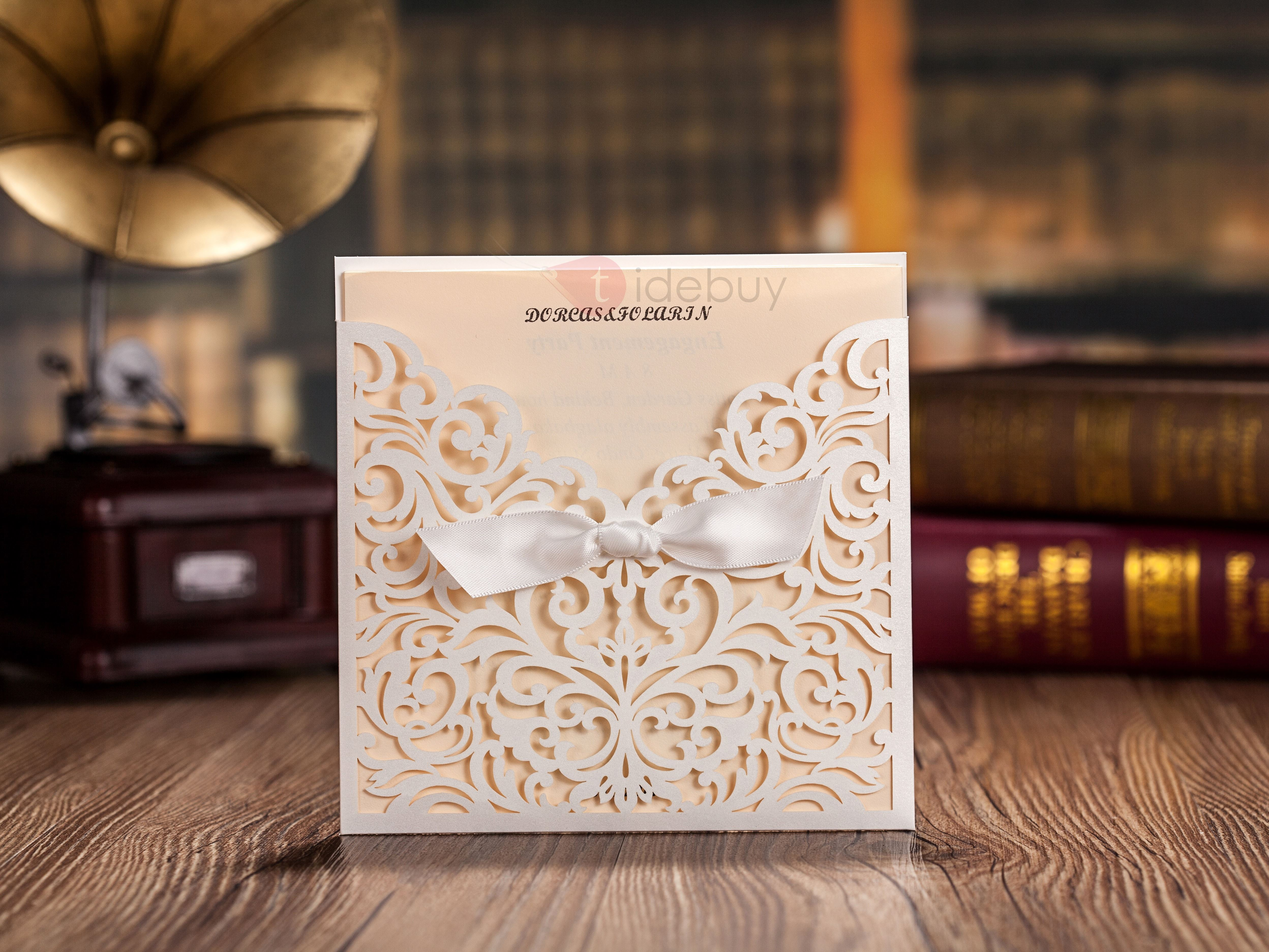Floral Wedding Invitation Cards with Bow (20 PCS One Set)