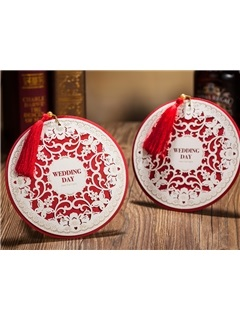 Round Floral Elegant Wedding Invitations (20 Pieces One Set)
