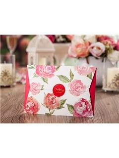 Floral Printed Folding Cheap Wedding Invitations (20 Pieces One Set)
