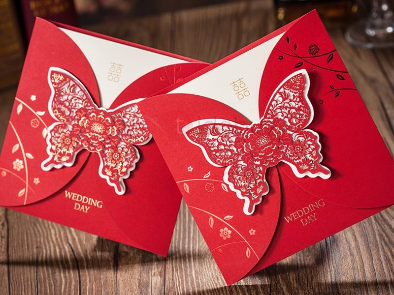 Butterfly Folding Red Wedding Invitation Card (20 Pieces One Set)