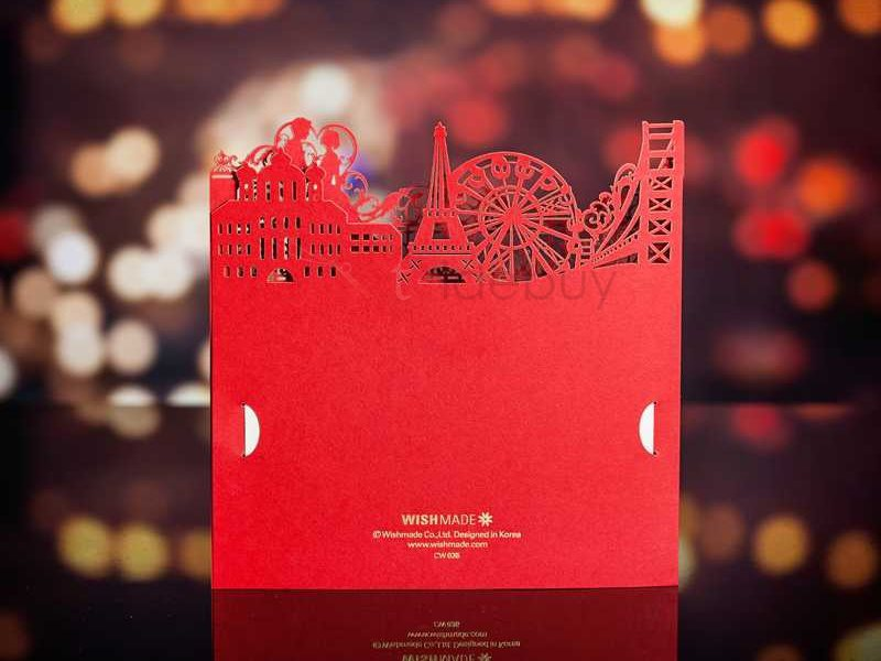 Red Building Cut-outs Wedding Invitations (20 Pieces One Set)