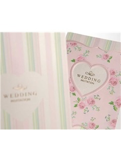 Elegant Folding Pink Wedding Invitations (20 Pieces One Set)