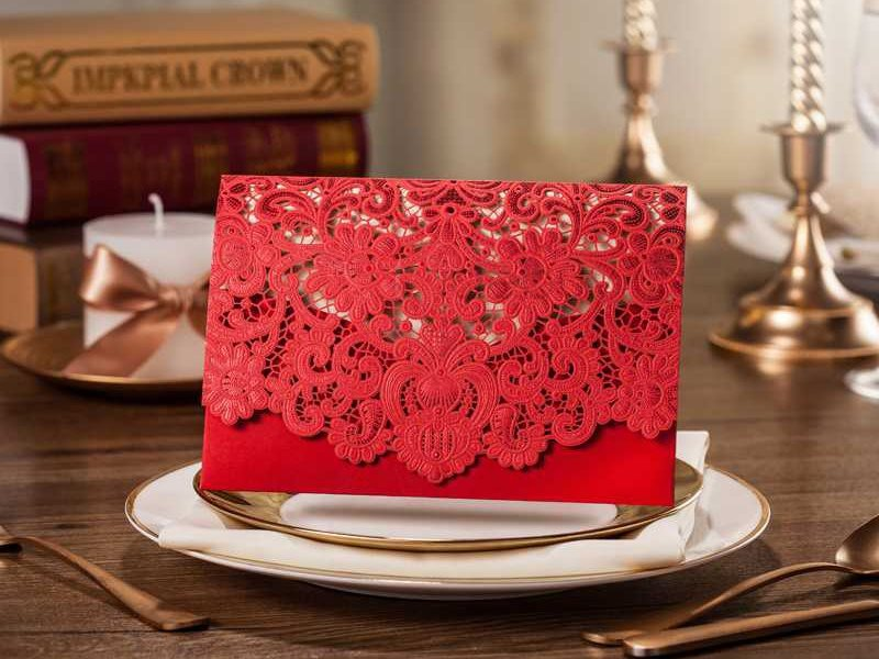 Unusual Red Flower Cut Wedding Invitation Cards (20 Pieces One Set)
