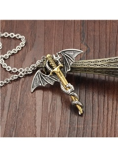 Dragon & Sword Pendant Men's Necklace