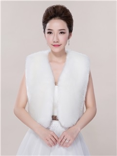 Sleeveless White Fur Wedding Jacket