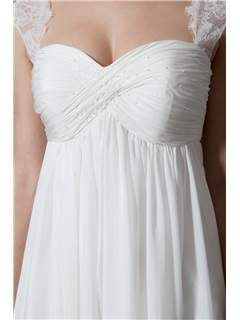 Simple Pleated Empire Waist Pregnant Maternity Wedding Dress