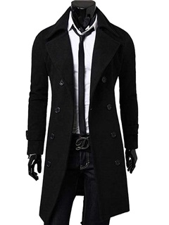 Solid Color Men's Single Breasted Topcoat