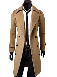 Solid Color Men's Double Breasted Topcoat 32