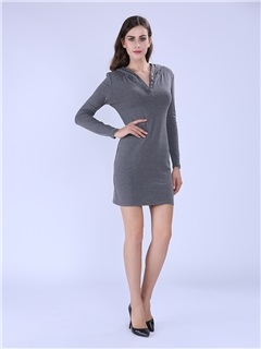 Solid Long Sleeve Hooded Casual Dress