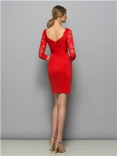 Classy Bateau Neck 3/4 Length Sleeve Red Lace Cocktail Dress