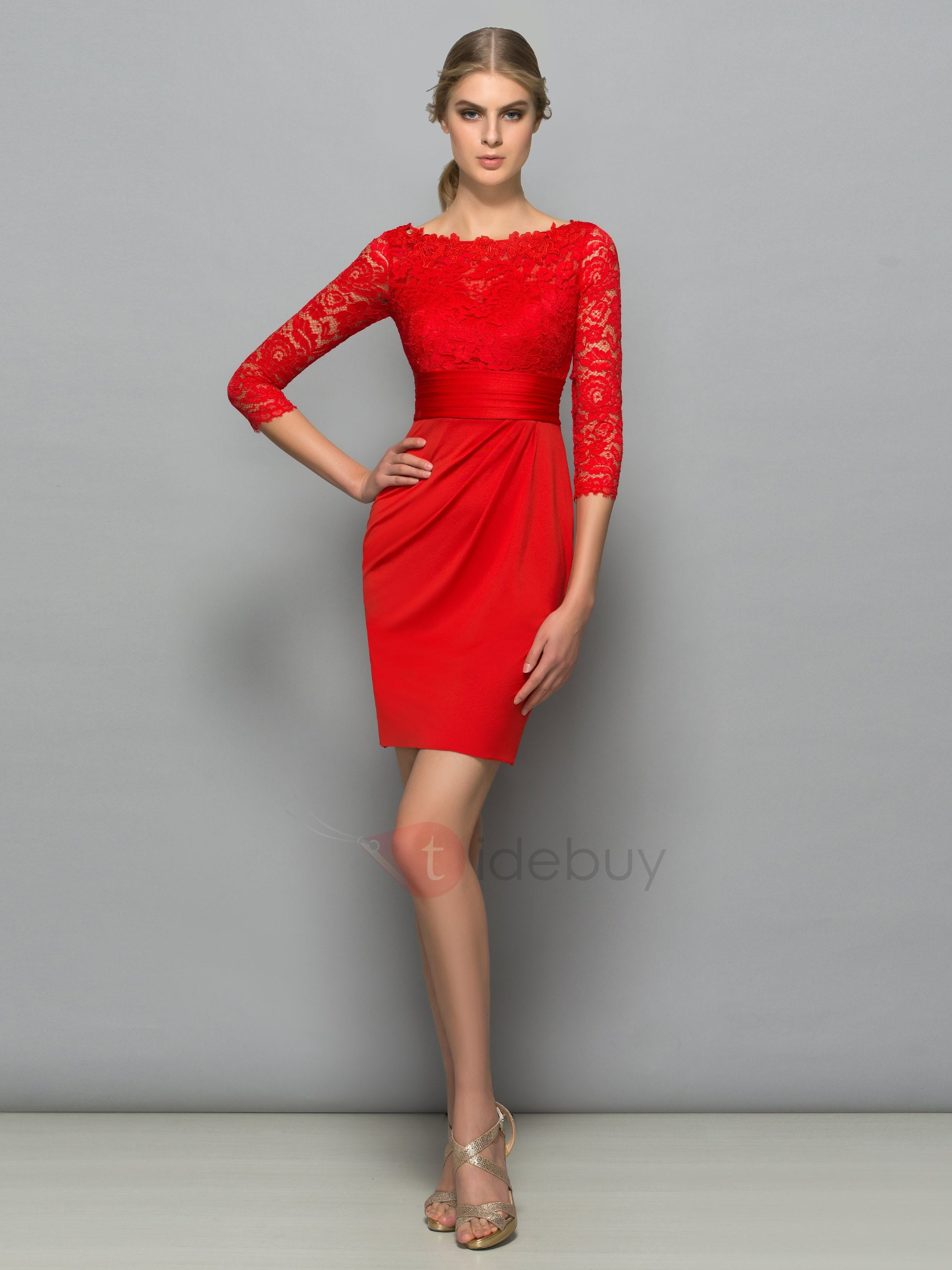 Classy Bateau Neck 3 4 Length Sleeve Red Lace Cocktail