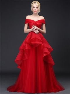 Dramatic Off the Shoulder Tiered Ruffles Lace Evening Dress & Evening Dresses under 300