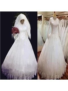 Sequin Beaded High Collar Neck Lace Long Sleeves Muslim Wedding Dress