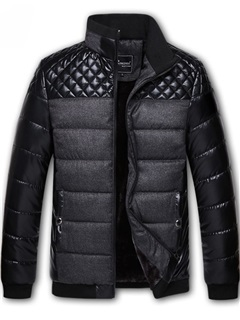 Chest Patchwork Stand Collar Men's Down Coat