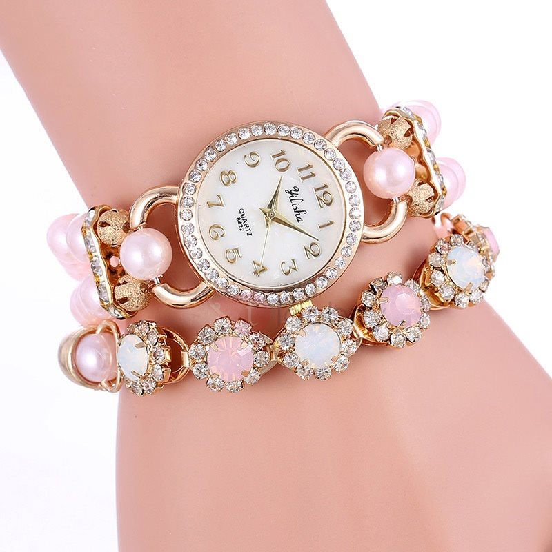 Double-deck Rhinestone Decorated Women's Watch