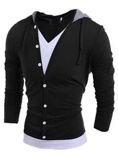 False Two V-Neck Hooded Men's Color Block Tee