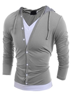 False Two V Neck Hooded Mens Color Block Tee
