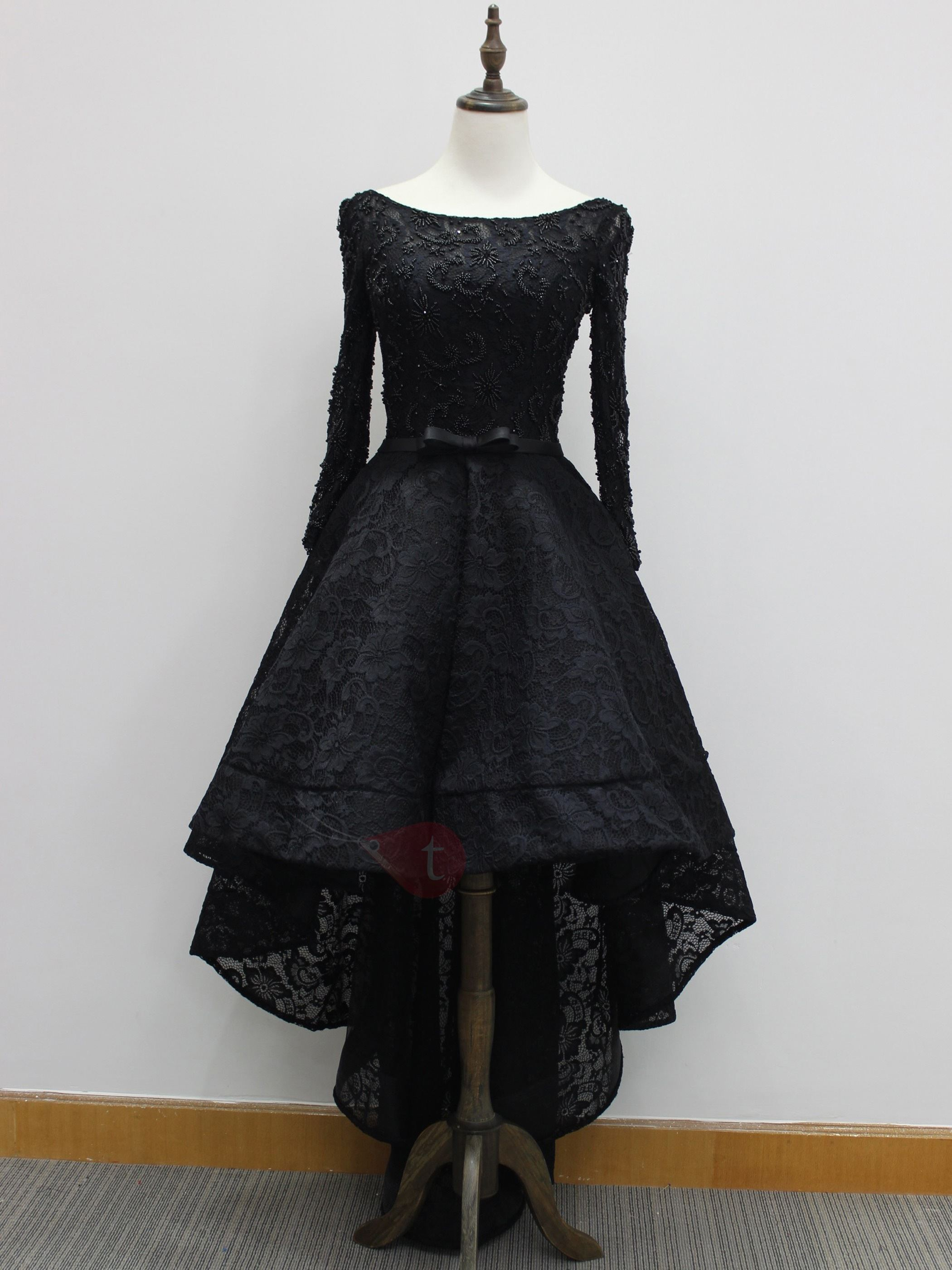 Vintage Long Sleeves Beading Black Lace High Low Evening ...
