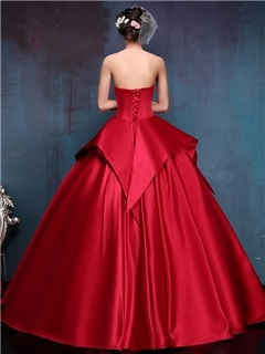 Vintage Strapless Appliques Tiered Lace-Up Ball Gown Dress