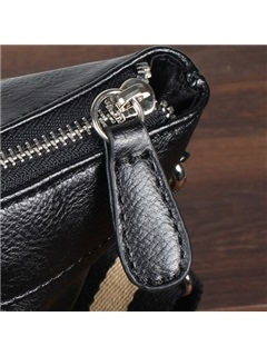 Casual Zipper Solid Men Shoulder Bag