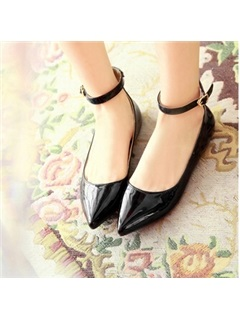 PU Pointed Toe Ankle Strap Flats