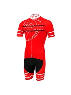 Red Polyester Short Sleeve Cycling Outfit