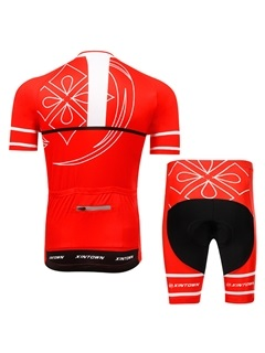 Red Polyester Short-Sleeve Cycling Outfit